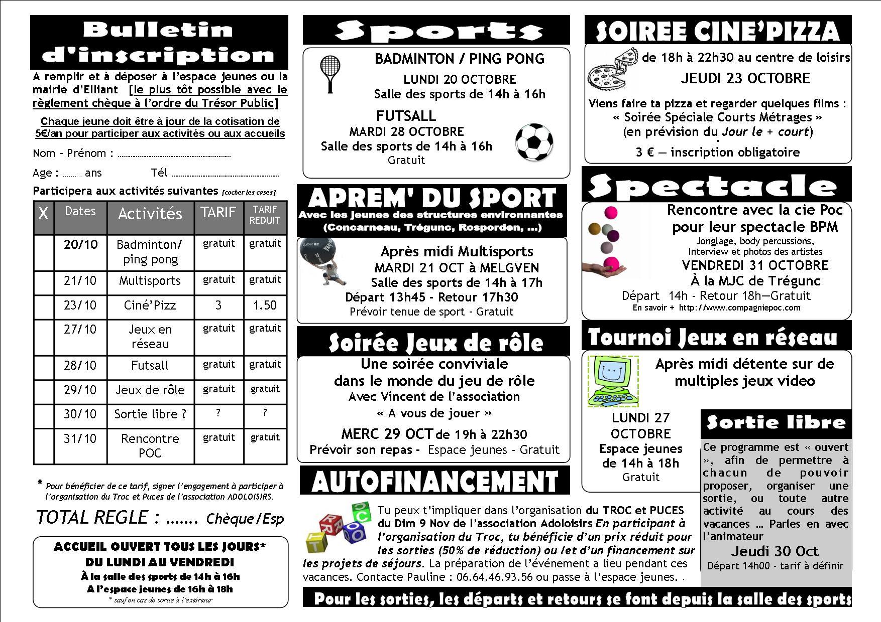 Beliebt ADOS] Programme des activités oct 2014 - CENTRE DE LOISIRS D'ELLIANT QF94
